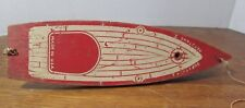"""Vintage Wood KEYSTONE 10"""" Sailboat Pond Boat RED MADE IN THE USA NO SAILS"""