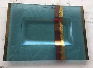 Gorgeous  Art Glass Rectangular  Platter Gold & Blue Tones