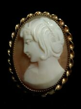Pendant, Chic Haircut, Italy Gold-Filled Handcarved Cameo Pin Brooch
