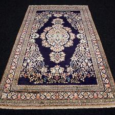 Orient Teppich Seide 180 x 110 cm Seidenteppich Dunkelblau Silk Carpet Rug Tapis