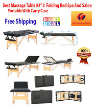 "Bed Massage Table 84"" 3 Spa Facial Portable Carry Case Beech Leg Folding 60Cm Wi"
