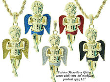 Hip Hop Jewelry Micro Pave Angel Pendant Brand New with 4mm Rope Necklace #4751