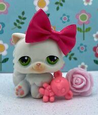 Authentic Littlest Pet Shop # 15 Vanilla White Persian Cat Green Eyes