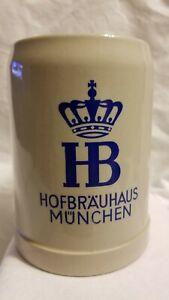 HB Hofbrauhaus Munchen Beer Stein Mug Vintage Stoneware .5L