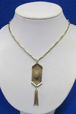 Celebrity NY Gold Tone Link Chain Necklace & Tan Cabochon Stone Tassel Jewelry