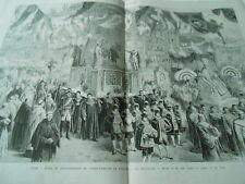 Grande Gravure 1874 - Lille fêtes couronnement Notre Dame de la treille