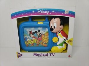 RARE VTG 90s Disney Mickey Mouse Musical TV Toddler Wind Up Scroll Toy TV - NEW