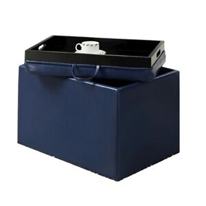 Convenience Concepts Designs4Comfort Accent Storage Ottoman, Blue - 143523BE