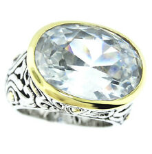 Large Clear Stone Two-Tone Plated Antique Design Ladies Ring Size 6