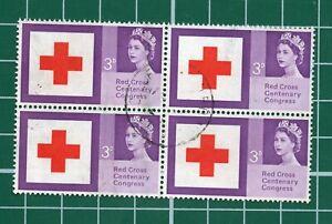 GB Red cross 3d block of 4 nice used stock 145