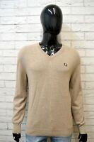 Maglione Uomo FRED PERRY Taglia L XL Pullover Cashmere Cardigan Sweater Beige