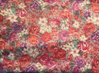 """Vintage Retro Fabric Floral Stretchy 4 Yards x 62"""" Red Purple Blue"""