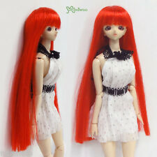 "Mimiwoo 1/6 Bjd Dollfie Heat Resistant 3.5""-4"" Doll Wig Long Straight Bang Red"