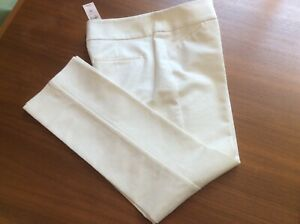 """NWT Ann Taylor Sz 4P Modern Skinny Leg White Cotton Blend Slacks  Inseam 27"""""""
