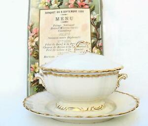 French Antique Ironstone Sarreguemines 19th century small tureen white Gilded