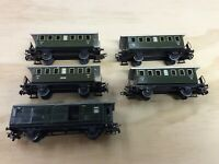 SET of 5  used Marklin 4040 . 4003 Passenger Tin Cars for Modeltrain H0