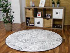 Designer Soft-Velours Teppich Finca Grau Rund