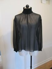 CHANEL Black Sheer Silk Blouse W Ruched High Collar & Faceted Buttons, Size L