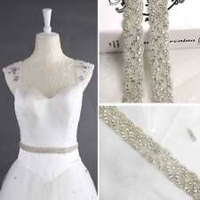 Crystal Bridal Belt Wedding Dress Sash Diamante Trim Applique Beaded Waistband
