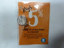 Weight Watchers 5% WEIGHT LOSS SILVER AWARD CHARM NEW In Orig.Pkg.