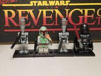 Boba Fett bounty hunters ig-88 & Darth Vader  lot 4 minifigures custom Star Wars