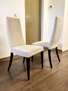 Orchid Furniture Chinese Eastern Zen Dining Chair Neutral Linen PAIR • RRP £380