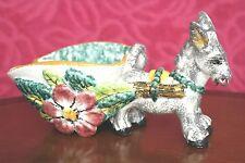 VINTAGE Italian maiolica Italia HAND MADE ART POTTERY donkey e carrello C. anni 1950