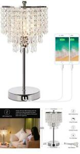 Touch Control Crystal Table Lamp with Dual USB Charging Ports 3 Way Dimmable