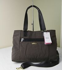 Kipling HB6547 Coffee Brown Patent Combo Kellyn Triple Compartments Tote