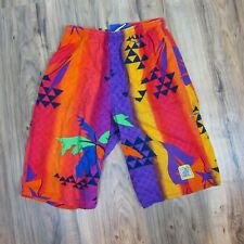 Youth Large Vintage Ocean Pacific Knee Buster Shorts Aztec Geometric Loud Bright