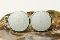 Pearl White Gold Over Sterling Silver Norway OPRO Guilloche Pierced Earrings