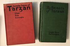 2 Vintage Tarzan Book lot-1916-1919/Jungle Tales-Beasts of Tarzan Burroughs