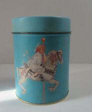 Tin Canister w Lid Vintage 1986 Kids Carousel Clown Willitts Design Hong Kong