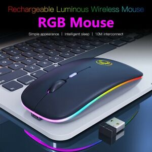 Wireless Mouse RGB Bluetooth Computer Mouse Silent Rechargeable Ergonomic Mouse