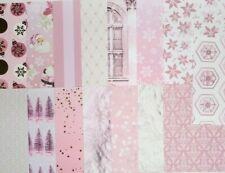 15pcs CARDSTOCK, Pink Christmas Holiday, Tree, Santa, Ornament, Gold Foil, Beard