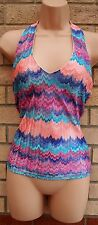 NEW LOOK MULTI COLOUR CHEVRON LACE V NECK FIT BLOUSE TUNIC TOP SHIRT VEST 12 M
