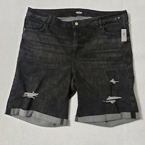 Old Navy Jean Shorts Women's Size 24 Plus Cuffed Distressed Denim Black 43X9.5