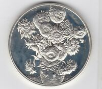HALLMARKED SUN FLOWERS VINCENT VAN GOGH SILVER MEDAL IN NEAR MINT CONDITION.