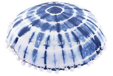 "Set Of 2 Pcs Shibori Round Cushion Cover 16"" Hand Tie Dye Indigo Pillow Case Art"