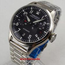 42mm CORGEUT black dial steel case date power reserve Automatic mens Watch C121