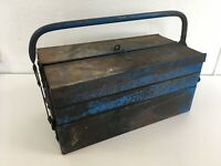Vintage Tool Box Distress Rust Metal 3 Tier Cantilever Shop Prop Retail Display