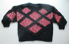 Schwarz roter Wolle Pullover Handarbeit Gr. 46 viele Details Hingucker