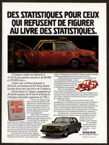 1985 VOLVO Vintage Original Print AD - Red car photo crash test French Canada