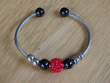 stainless steel wire wrap red shamballa style cuff bracelet with beaded charms