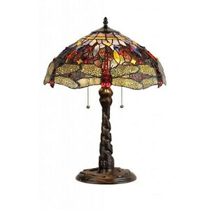 Tiffany Style Table Lamp 2 Lite Red Dragonfly Brown Yellow Jeweled Stained Glass