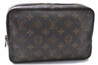 Auth Louis Vuitton Monogram Trousse Toilette 23 Clutch Hand Bag M47524 LV B7184
