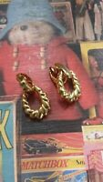 1950s Vintage Rockabilly Earrings Gold Tone Hoop Pin Up Door Knockers Clip On