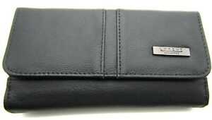 Womens High Quality Large Real Black Leather Purse Credit Card Holder RFID Safe