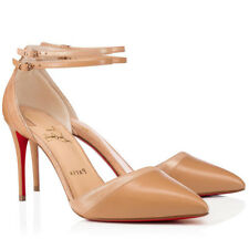 Christian Louboutin Uptown Double 85 Nude Kid Ankle Strap Sandal Heel Pump 40