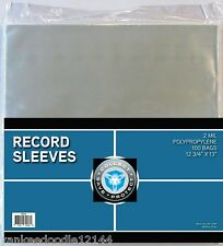 (100) New CSP 33 1/3 RPM Record Album Clear Polypropylene Sleeves 12.75 X 13""